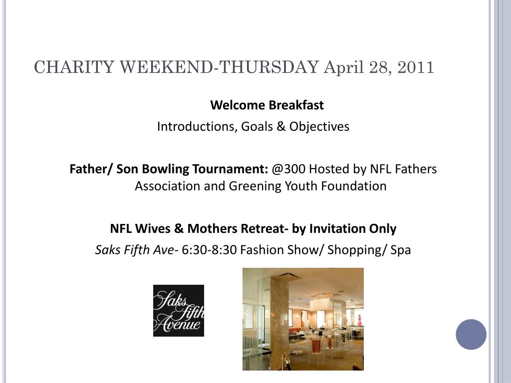 CHARITY WEEKEND-THURSDAY April 28, 2011