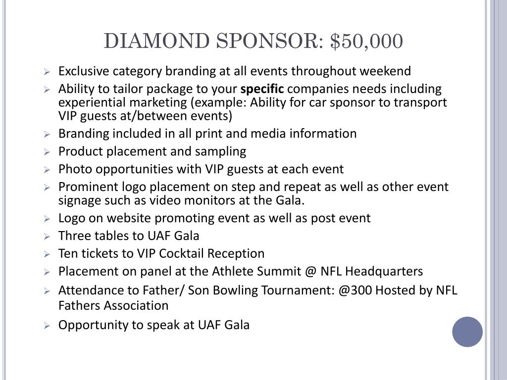 DIAMOND SPONSOR: $50,000