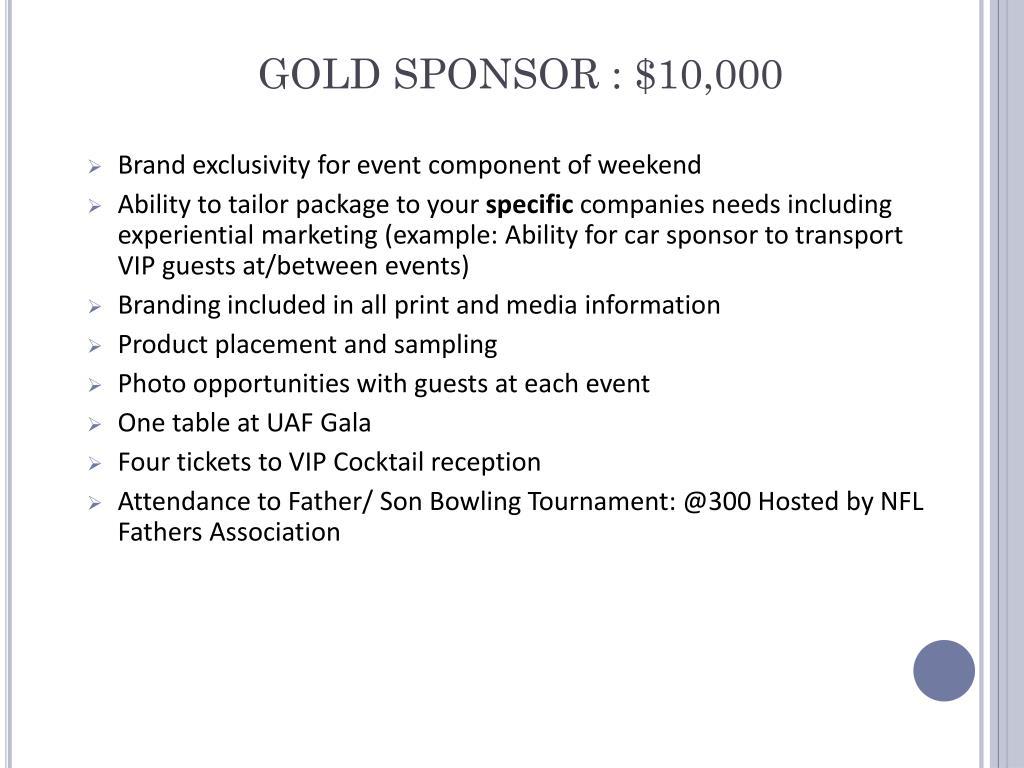 GOLD SPONSOR : $10,000