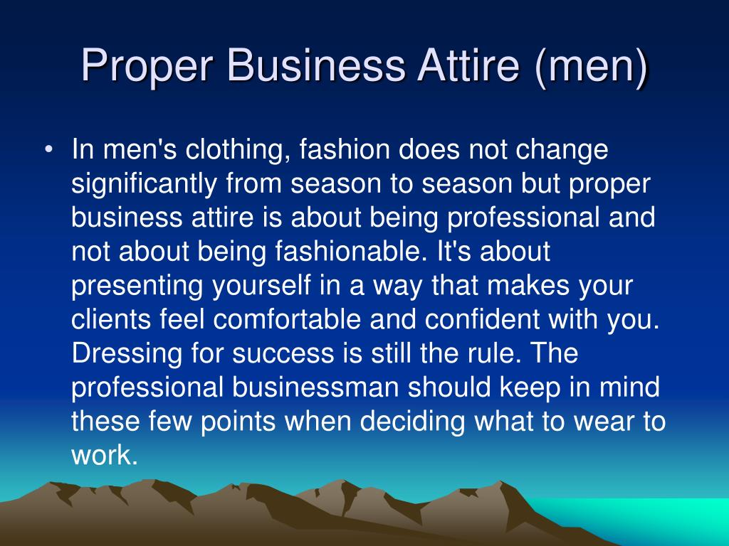 Proper Business Attire (men)