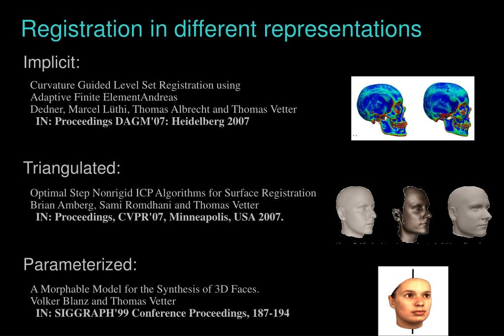 Registration in different representations