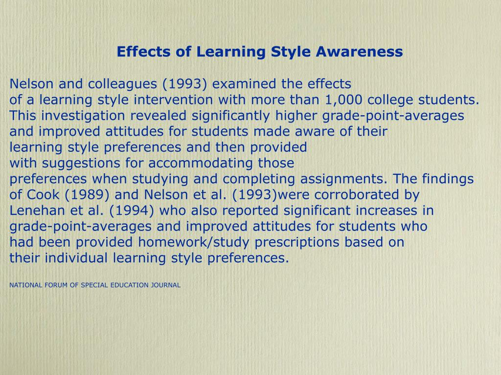 Effects of Learning Style Awareness