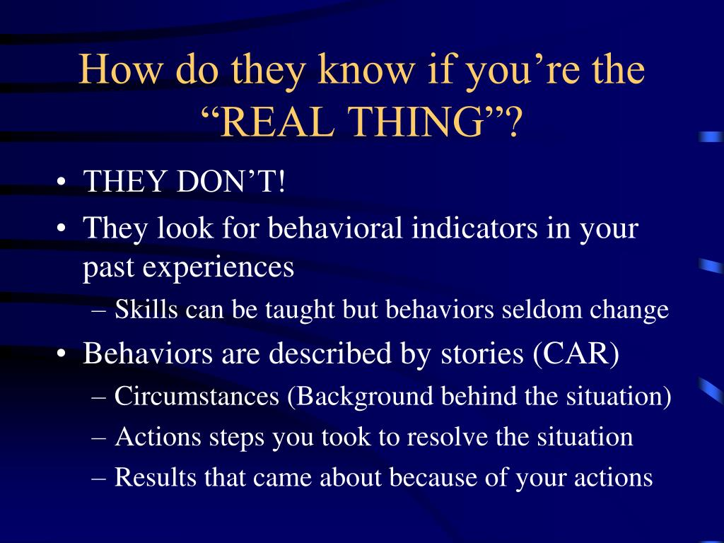 """How do they know if you're the """"REAL THING""""?"""