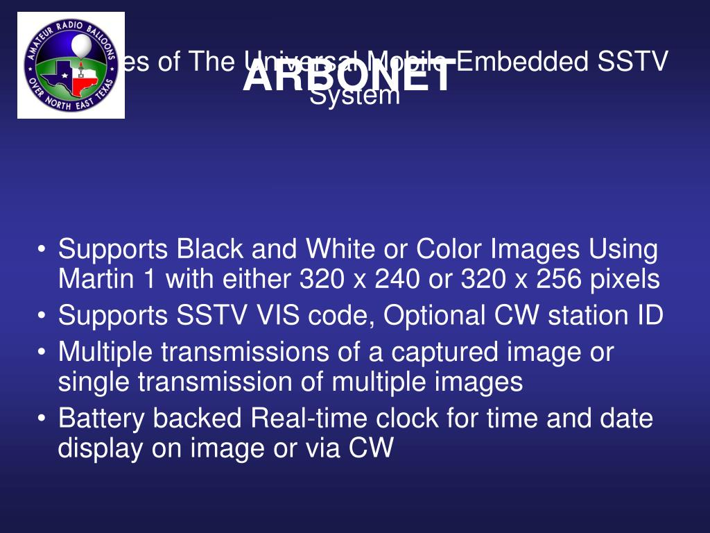 Features of The Universal Mobile Embedded SSTV System