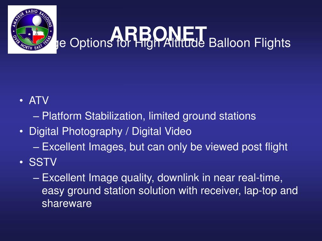 Image Options for High Altitude Balloon Flights