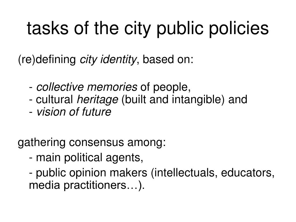 tasks of the city public policies