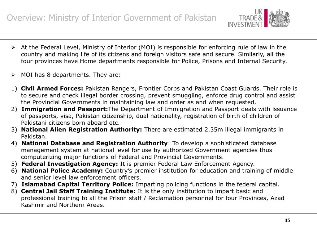 Overview: Ministry of Interior Government of Pakistan