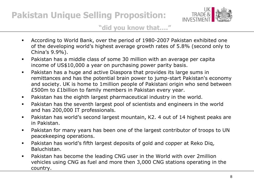 Pakistan Unique Selling Proposition:
