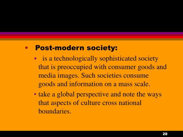 Post-modern society: