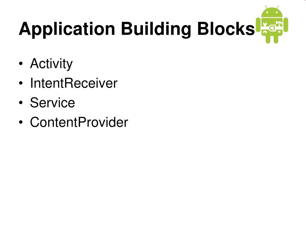 Application Building Blocks