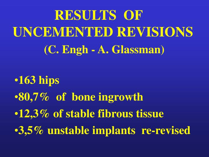 RESULTS  OF UNCEMENTED REVISIONS