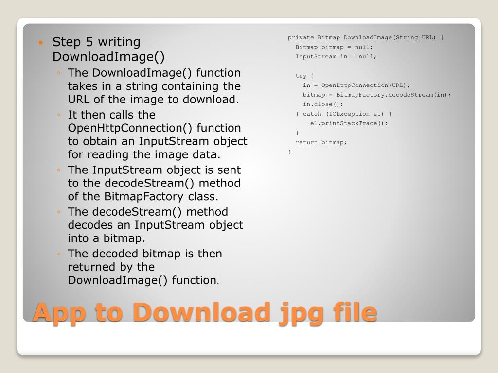 Step 5 writing DownloadImage()