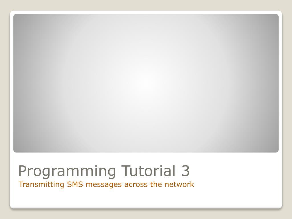 Programming Tutorial 3