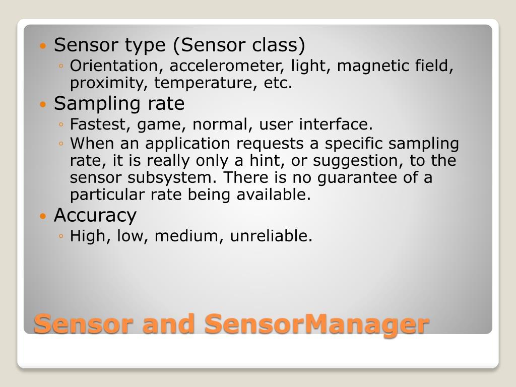Sensor type (Sensor class)