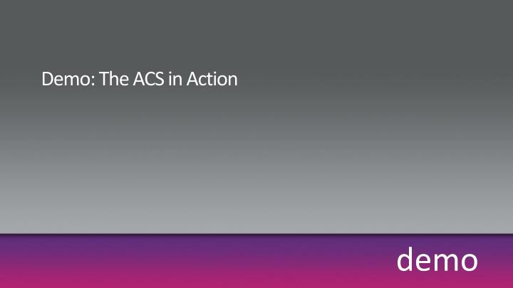 Demo: The ACS in Action