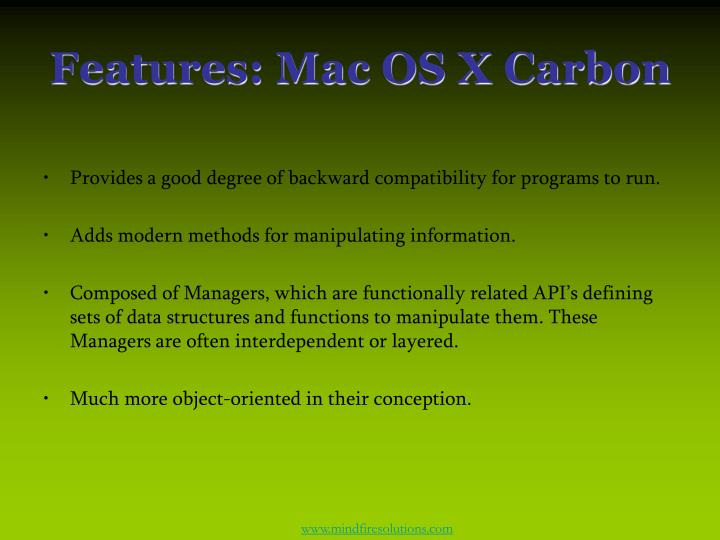 Features mac os x carbon