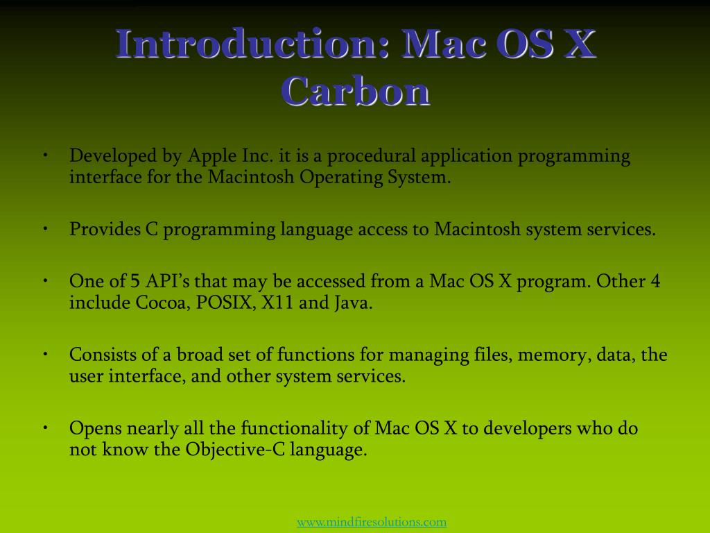 Introduction: Mac OS X Carbon