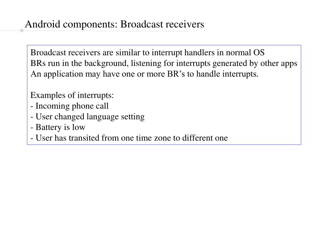 Android components: Broadcast receivers