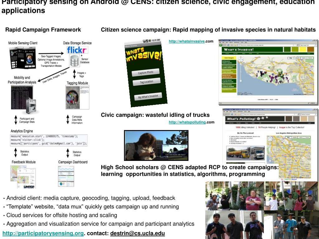 participatory sensing on android @ cens citizen science civic engagement education applications