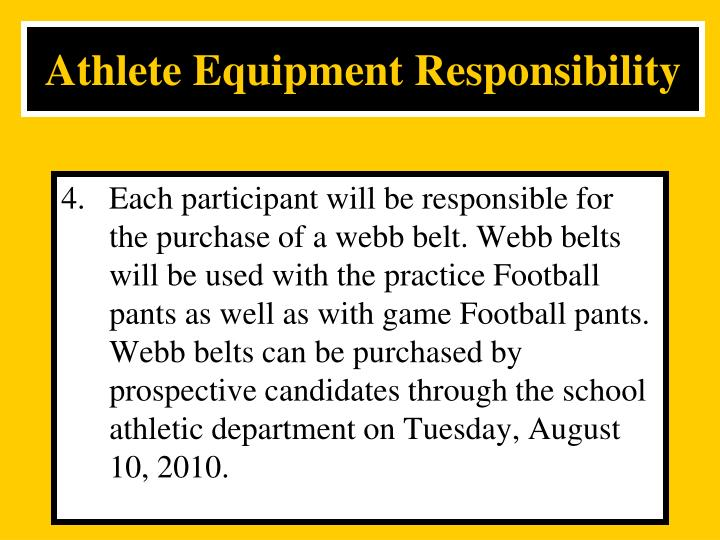 Athlete Equipment Responsibility