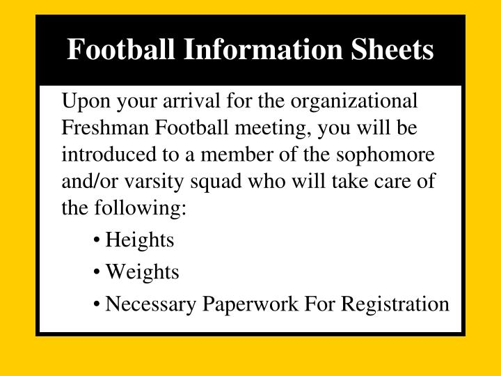 Football Information Sheets