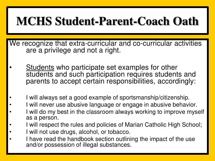MCHS Student-Parent-Coach Oath