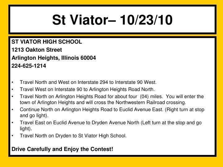St Viator– 10/23/10