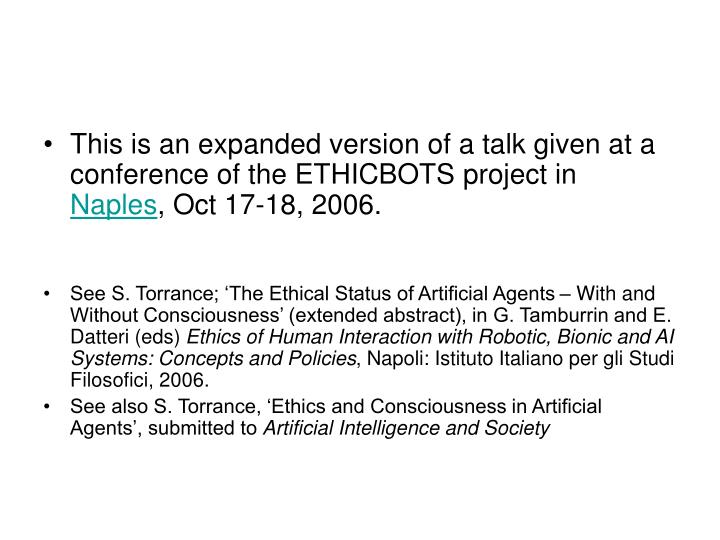 This is an expanded version of a talk given at a conference of the ETHICBOTS project in