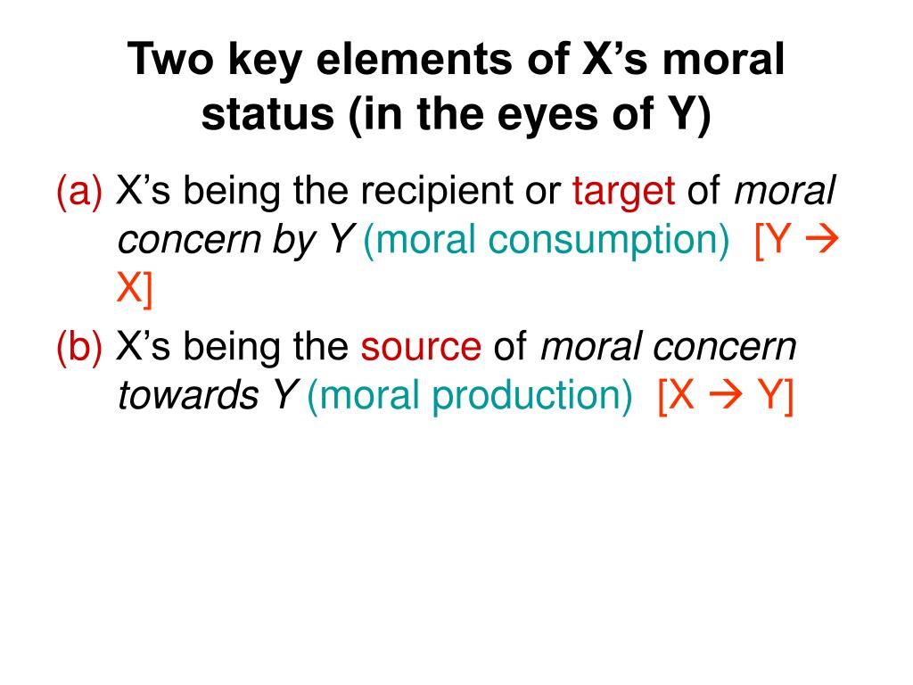 Two key elements of X's moral status (in the eyes of Y)