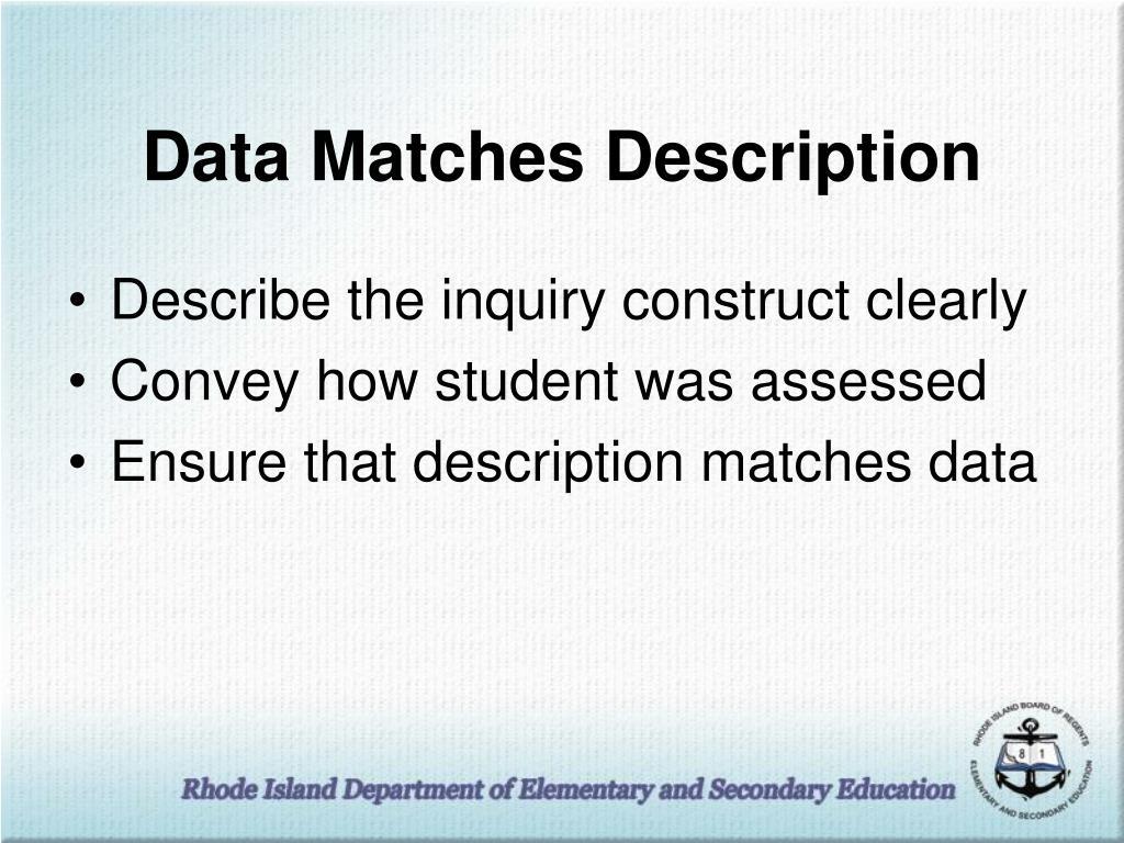 Data Matches Description