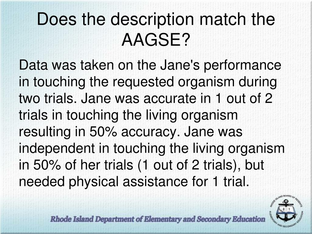 Does the description match the AAGSE?