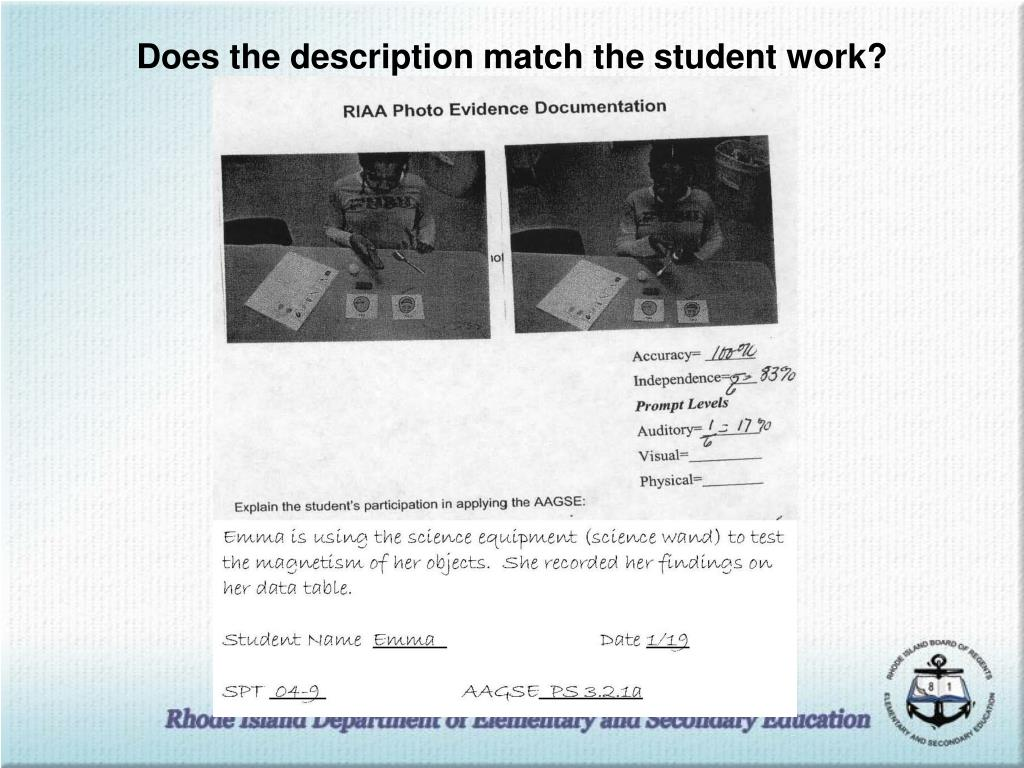 Does the description match the student work?