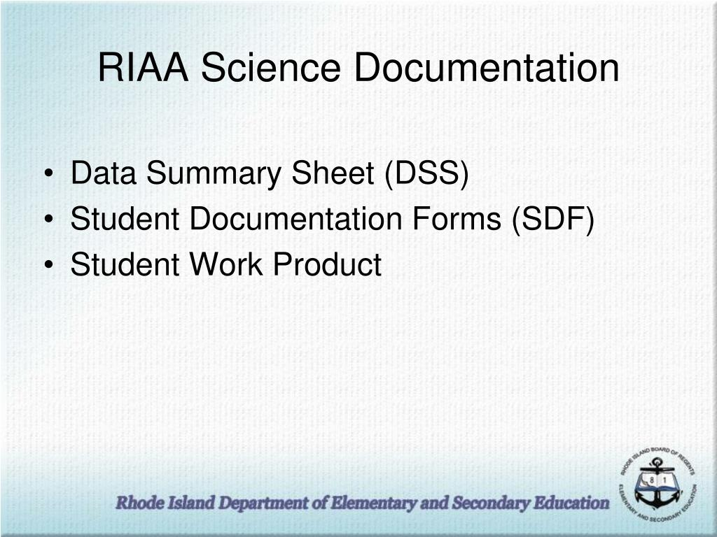 RIAA Science Documentation