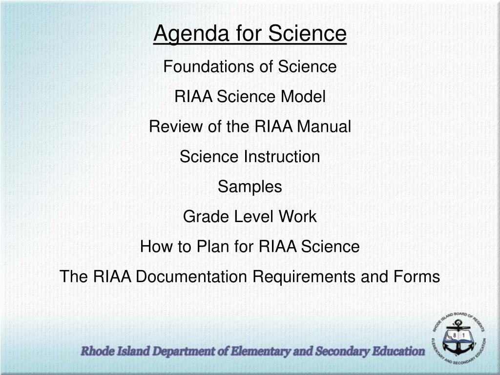 Agenda for Science