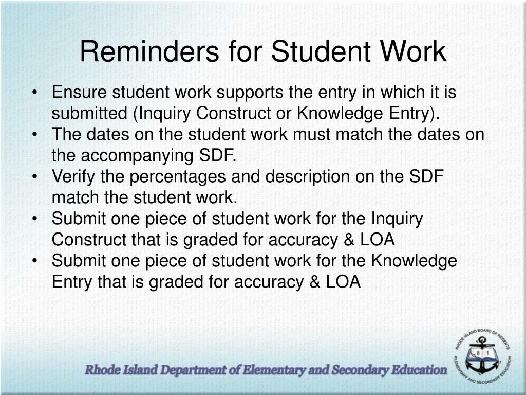 Reminders for Student Work