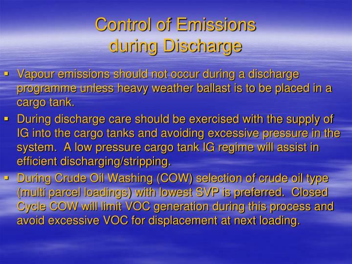 Control of Emissions