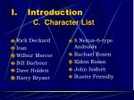 introduction c character list