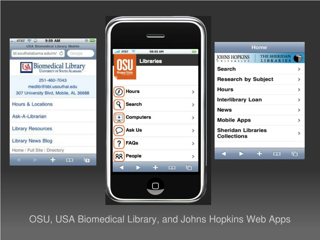 OSU, USA Biomedical Library, and Johns Hopkins Web Apps