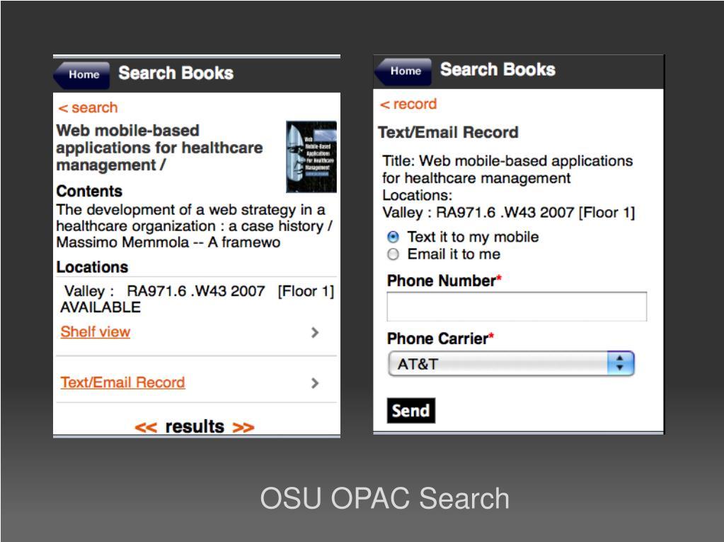 OSU OPAC Search