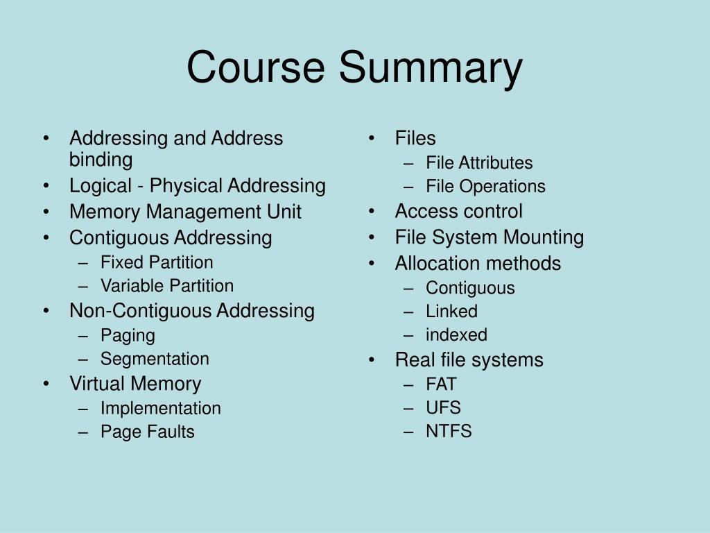 Addressing and Address binding