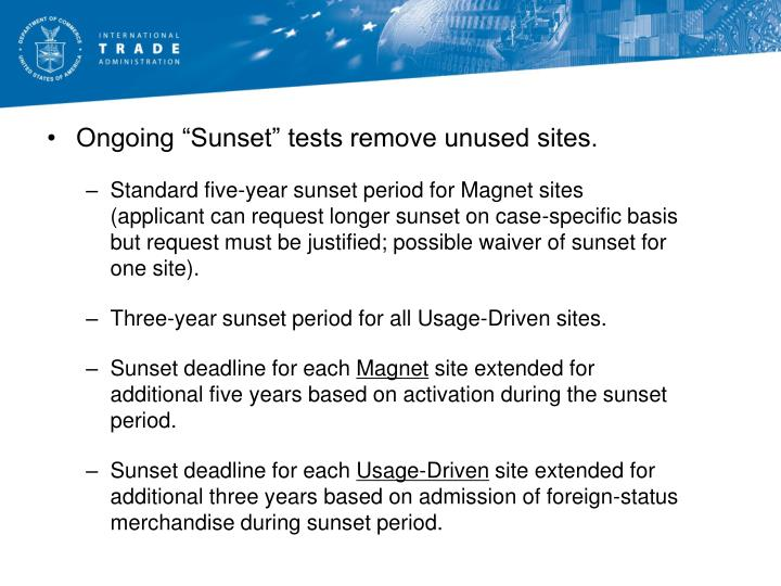 "Ongoing ""Sunset"" tests remove unused sites."