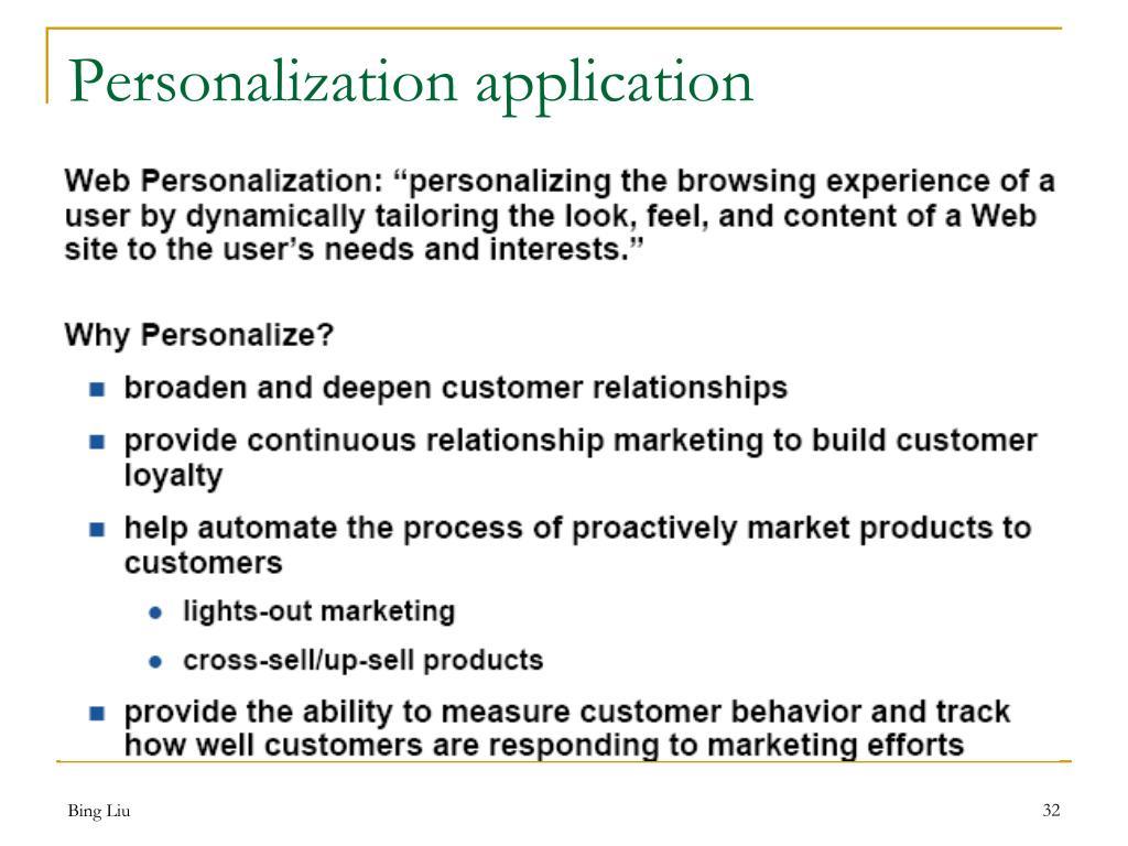 Personalization application