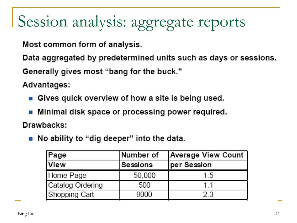 Session analysis: aggregate reports