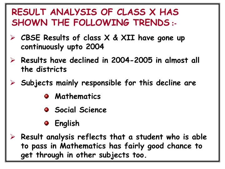 RESULT ANALYSIS OF CLASS X HAS SHOWN THE FOLLOWING TRENDS
