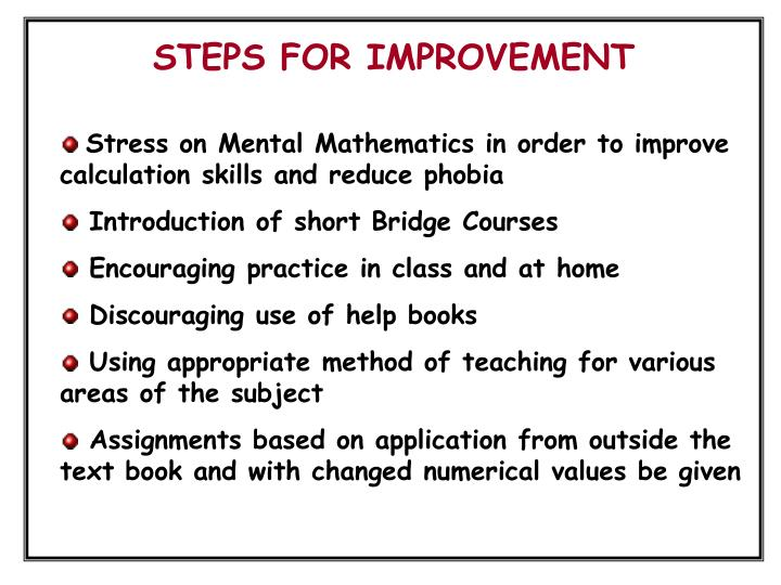 STEPS FOR IMPROVEMENT