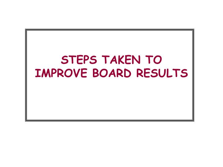 STEPS TAKEN TO IMPROVE BOARD RESULTS