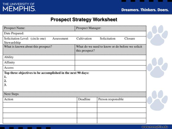 Prospect Strategy Worksheet