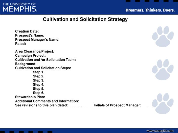 Cultivation and Solicitation Strategy