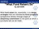 what fund raisers do by joel smith