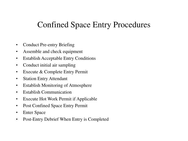 confined space entry procedure pdf